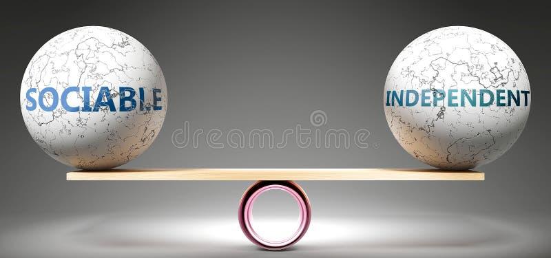 Κοινωνικός και ανεξάρτητος σε ισορροπία - απεικονίζεται ως ισορροπημένος μπαλάς σε κλίμακα που συμ ß ολίζει την αρμονία και την ι διανυσματική απεικόνιση