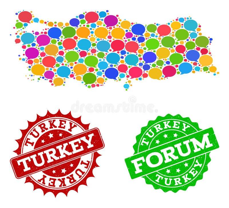 Κοινωνικός χάρτης δικτύων της Τουρκίας με τις φυσαλίδες συνομιλίας και τα γρατσουνισμένα γραμματόσημα απεικόνιση αποθεμάτων