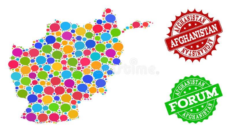 Κοινωνικός χάρτης δικτύων του Αφγανιστάν με τα σύννεφα συνομιλίας και τα γραμματόσημα κινδύνου απεικόνιση αποθεμάτων
