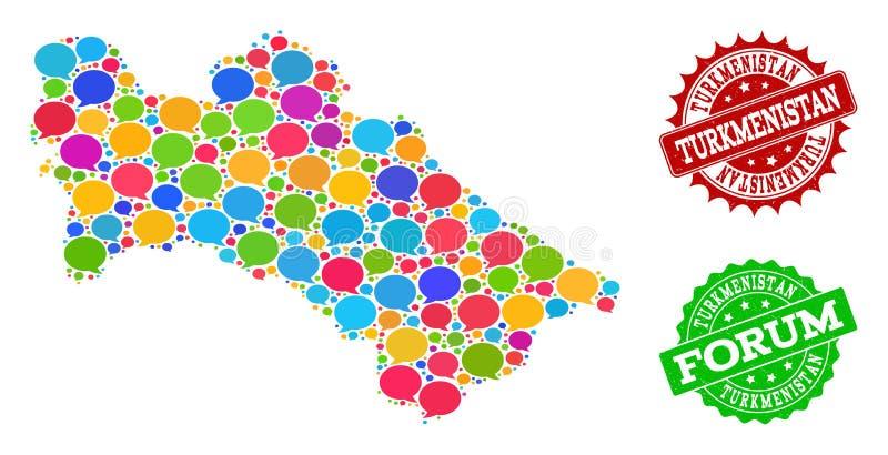 Κοινωνικός χάρτης δικτύων του Τουρκμενιστάν με τα σύννεφα συζήτησης και τα υδατόσημα Grunge απεικόνιση αποθεμάτων