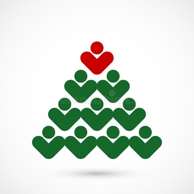 Κοινωνικό δέντρο Χριστουγέννων διανυσματική απεικόνιση