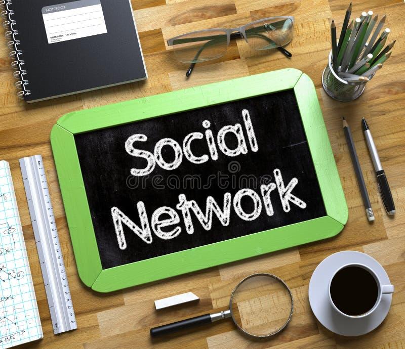 Κοινωνικό δίκτυο - κείμενο στο μικρό πίνακα κιμωλίας τρισδιάστατος ελεύθερη απεικόνιση δικαιώματος