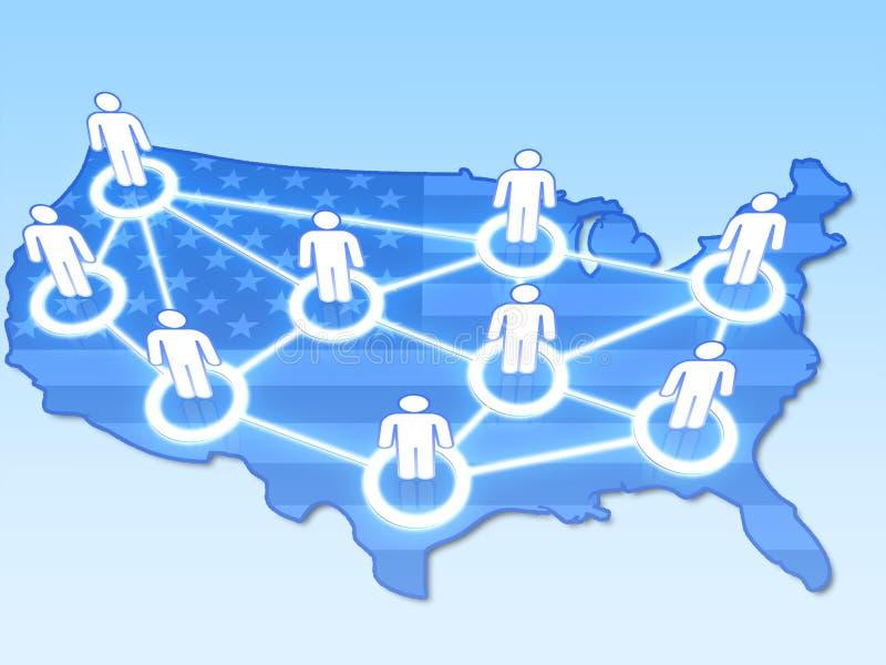 Κοινωνικό δίκτυο στην ΑΜΕΡΙΚΑΝΙΚΗ έννοια τρισδιάστατη διανυσματική απεικόνιση