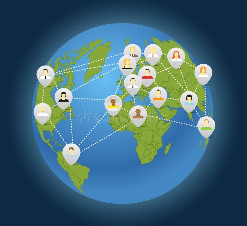 Κοινωνικό αφηρημένο σχέδιο σύνδεσης ελεύθερη απεικόνιση δικαιώματος