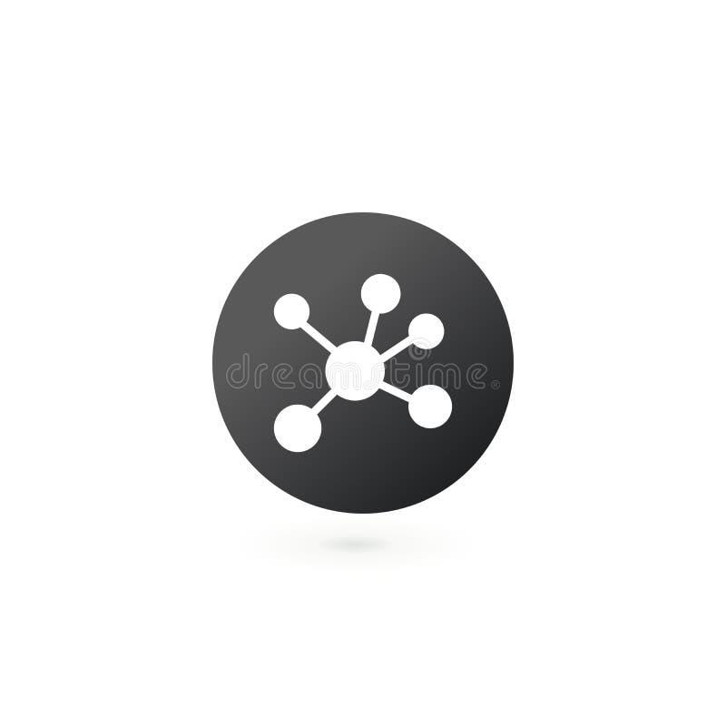Κοινωνικό δίκτυο Ενιαίο επίπεδο εικονίδιο στον κύκλο Μοριακή ή έννοια σύνδεσης, διανυσματική απεικόνιση που απομονώνεται στο άσπρ απεικόνιση αποθεμάτων