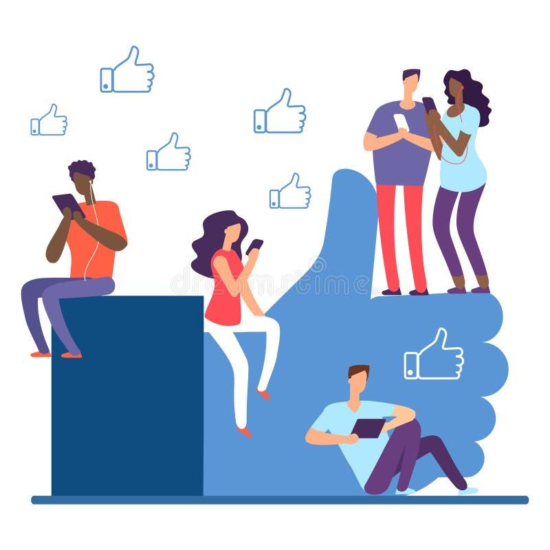 Κοινωνικό δίκτυο και διεθνείς άνθρωποι, όπως το διανυσματική έννοια διανυσματική απεικόνιση