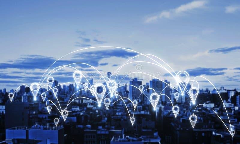 Κοινωνικό δίκτυο και κοινοτική έννοια διανυσματική απεικόνιση