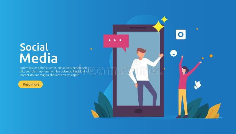 Κοινωνικό δίκτυο και influencer έννοια MEDIA με το χαρακτήρα νέων στο επίπεδο ύφος πρότυπο απεικόνισης για προσγειωμένος ιστοσελί ελεύθερη απεικόνιση δικαιώματος