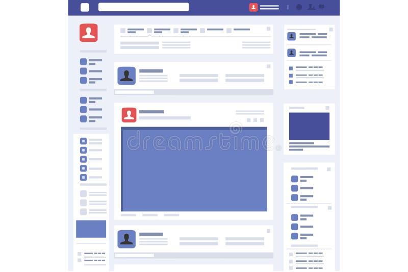 Κοινωνικό διάνυσμα διεπαφών σελίδων έννοιας ιστοσελίδας απεικόνιση αποθεμάτων
