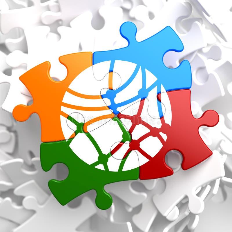 Κοινωνικό εικονίδιο δικτύων στον πολύχρωμο γρίφο. διανυσματική απεικόνιση