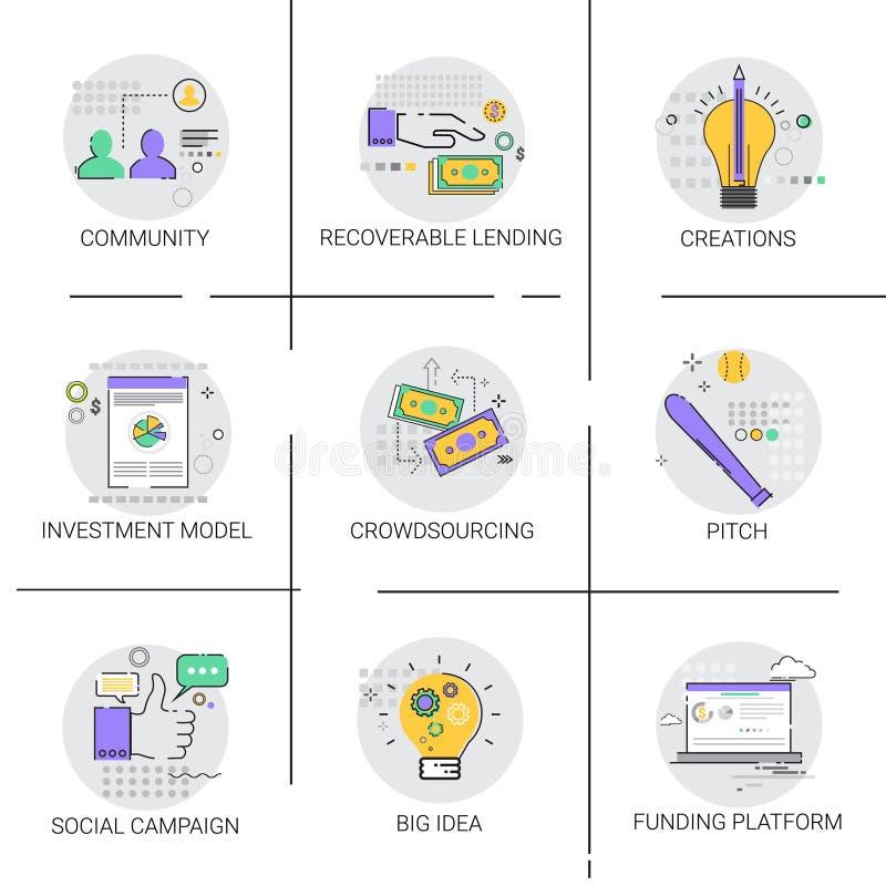 Κοινωνικό εικονίδιο στρατηγικής επιχειρησιακής χρηματοδότησης ανάπτυξης ιδέας εκστρατείας νέο ελεύθερη απεικόνιση δικαιώματος