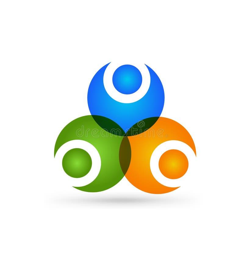 Κοινωνικό λογότυπο δικτύων, ομάδα 3 επιχειρησιακών ατόμων ανθρώπων eps σχεδίου 10 ανασκόπησης διάνυσμα τεχνολογίας ελεύθερη απεικόνιση δικαιώματος