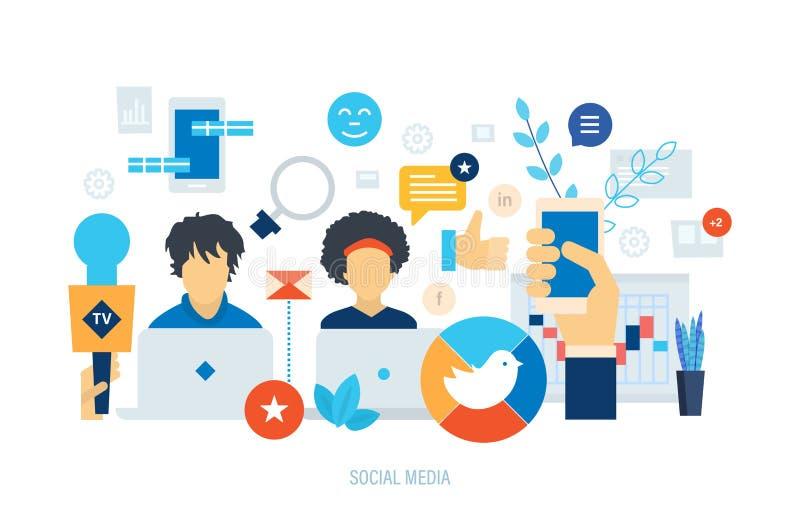 Κοινωνικό μάρκετινγκ, μέσα που προγραμματίζει, δίκτυο που διαφημίζει, επικοινωνία δικτύωσης ανθρώπων απεικόνιση αποθεμάτων