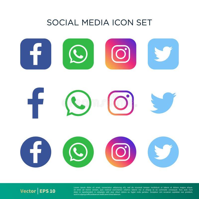 Κοινωνικό μέσων πρότυπο λογότυπων εικονιδίων καθορισμένο διανυσματικό r διανυσματική απεικόνιση