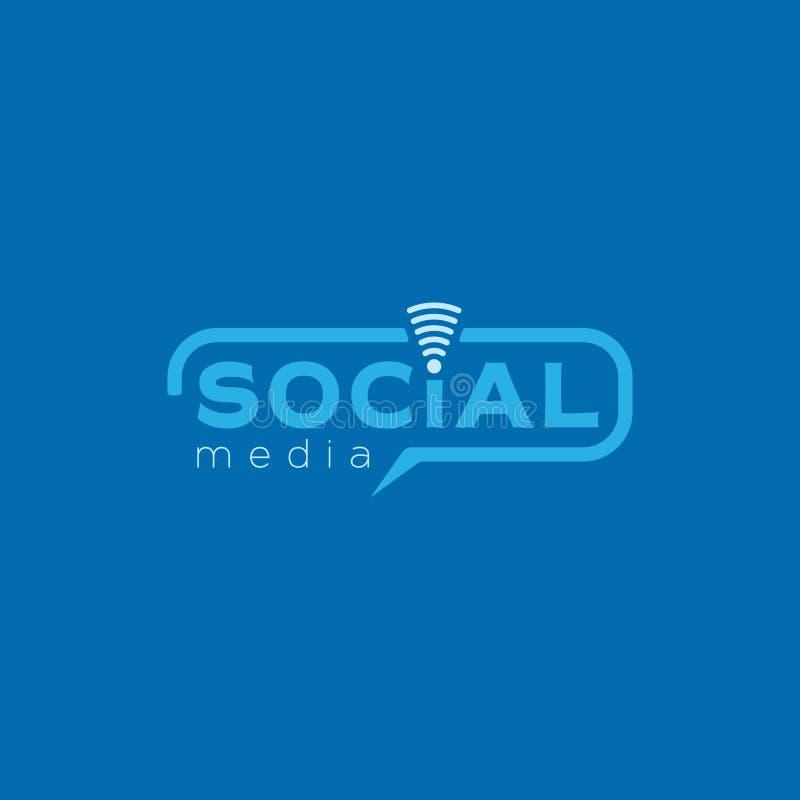 Κοινωνικό λογότυπο μέσων Μπλε διανυσματικό σχέδιο χρώματος με το ασύρματο εικονίδιο στοκ εικόνα