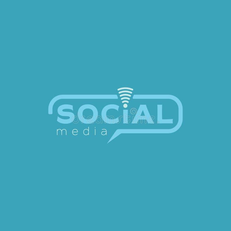 Κοινωνικό λογότυπο μέσων Μπλε διανυσματικό σχέδιο χρώματος με το ασύρματο εικονίδιο στοκ εικόνες