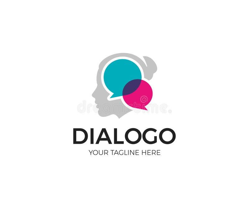 Κοινωνικό πρότυπο λογότυπων επικοινωνίας γυναικών Διανυσματικό σχέδιο συνομιλίας κοριτσιών διανυσματική απεικόνιση