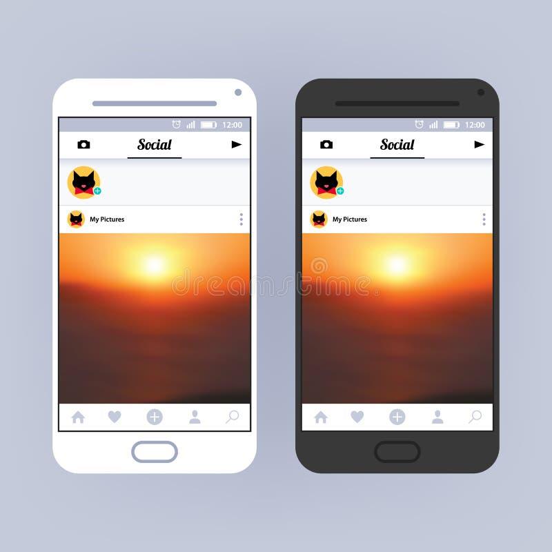 Κοινωνικό πλαίσιο δικτύων App σχέδιο διεπαφών Φωτογραφία που μοιράζεται την εφαρμογή απεικόνιση αποθεμάτων