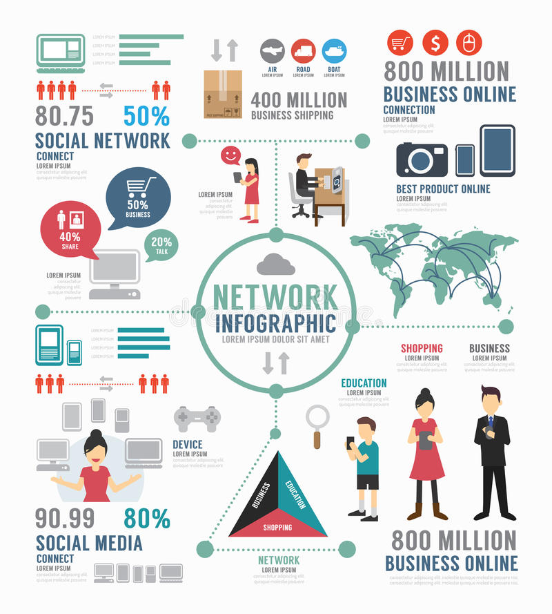 Κοινωνικό σχέδιο προτύπων δικτύων Infographic διάνυσμα έννοιας απεικόνιση αποθεμάτων