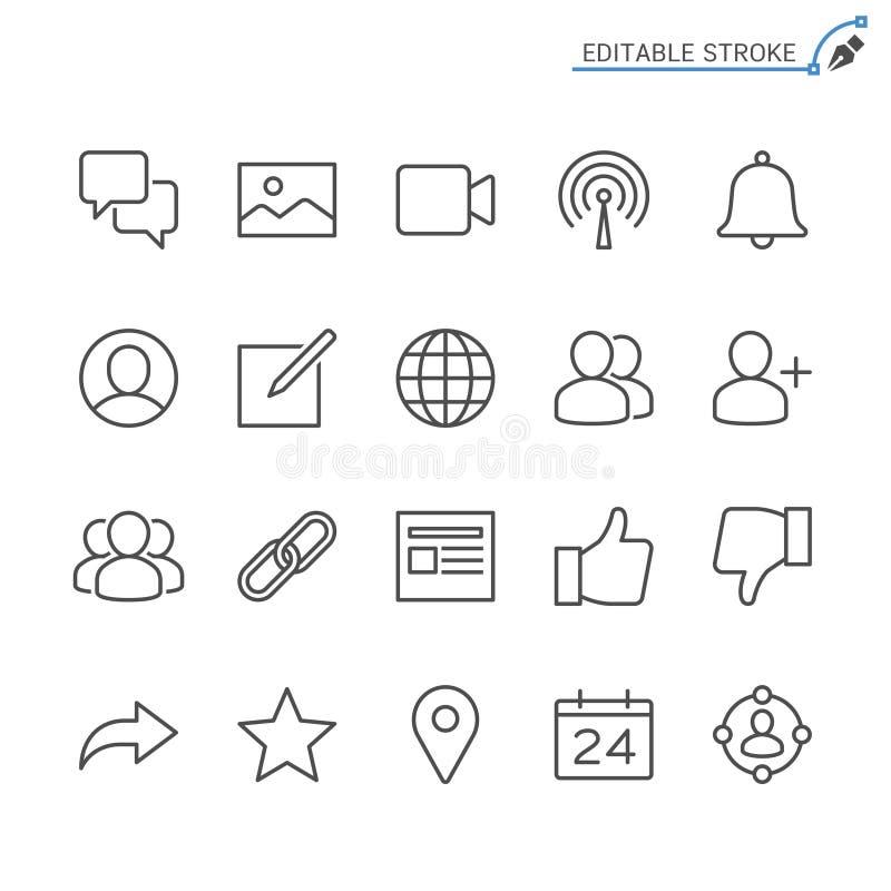 Κοινωνικό σύνολο εικονιδίων περιλήψεων δικτύων απεικόνιση αποθεμάτων