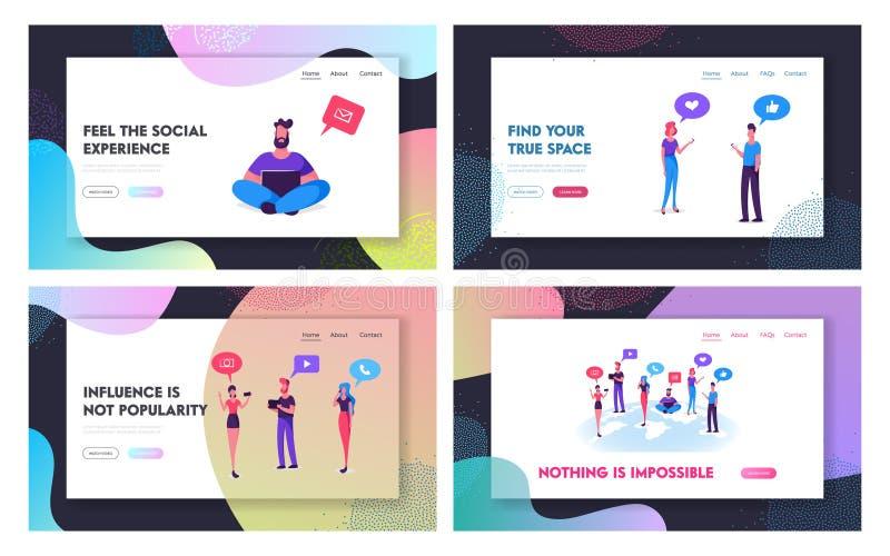 Κοινωνικό σύνολο σελίδων προσγείωσης ιστοχώρου δικτύων μέσων, άνθρωποι που επικοινωνεί on-line με τις κινητές συσκευές, ταμπλέτα, απεικόνιση αποθεμάτων