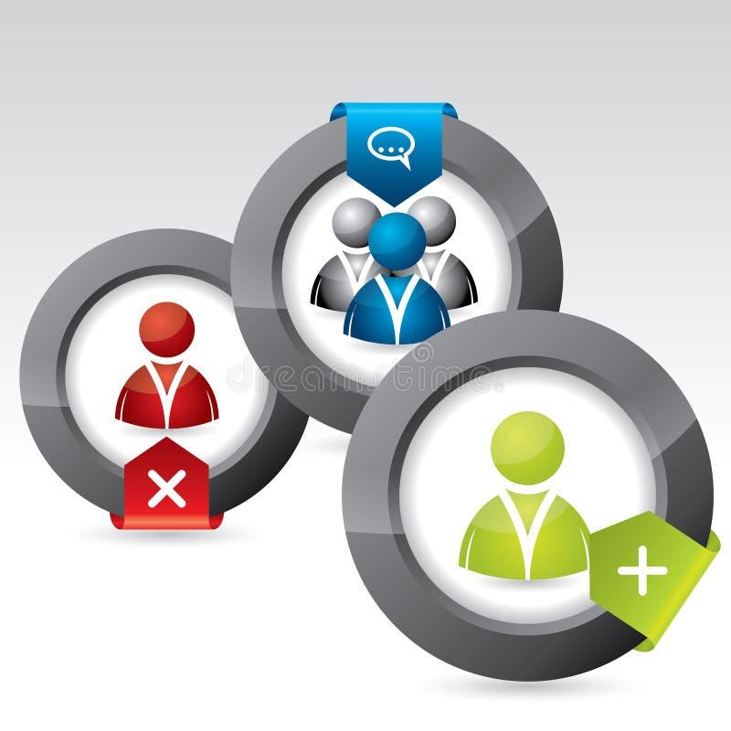 Κοινωνικό σύνολο σχεδίου εικονιδίων δικτύων απεικόνιση αποθεμάτων