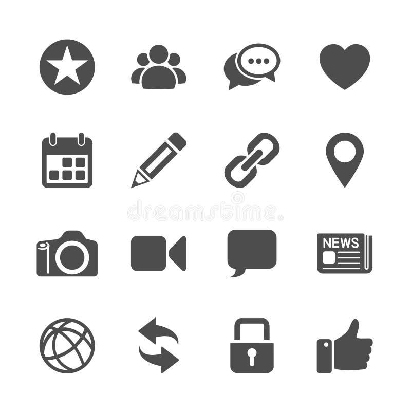 Κοινωνικό σύνολο εικονιδίων επικοινωνίας δικτύων, διανυσματικό eps10 απεικόνιση αποθεμάτων