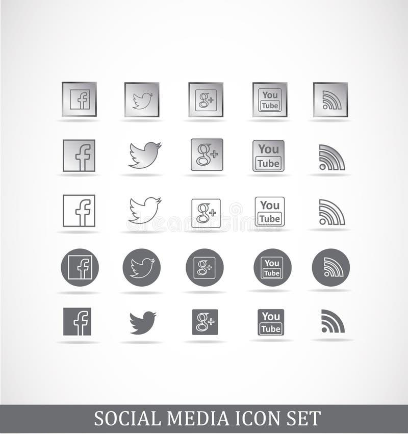 Κοινωνικό σύνολο εικονιδίων μέσων απεικόνιση αποθεμάτων