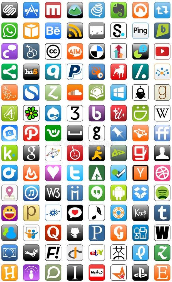 Κοινωνικό σύνολο κουμπιών κουμπιών δικτύων μέσων ελεύθερη απεικόνιση δικαιώματος