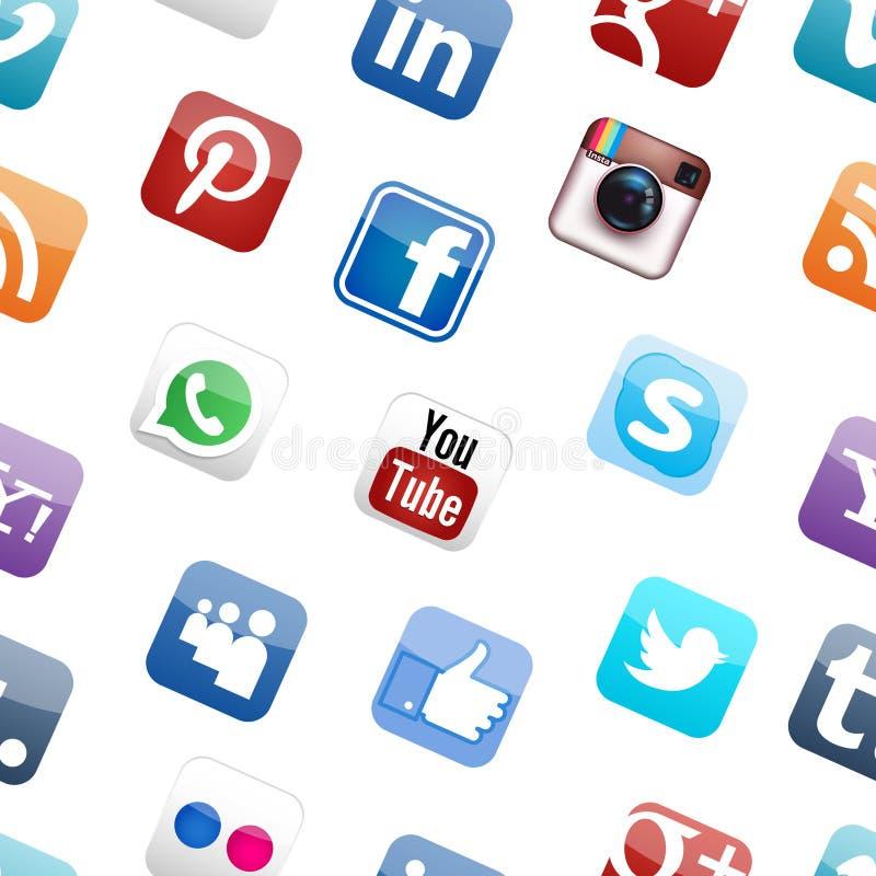 Κοινωνικό υπόβαθρο λογότυπων μέσων διανυσματική απεικόνιση