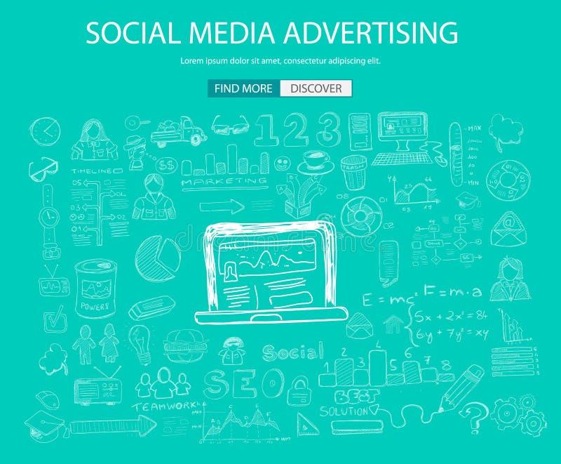 Κοινωνικό MEDIA που διαφημίζει την έννοια με το ύφος σχεδίου Doodle: διανυσματική απεικόνιση