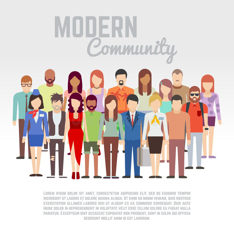 Κοινότητα επιχειρήσεων ή πολιτικής, μέλη κοινωνίας, διανυσματική επίπεδη έννοια ομάδων με την ομάδα ανδρών και γυναικών διανυσματική απεικόνιση