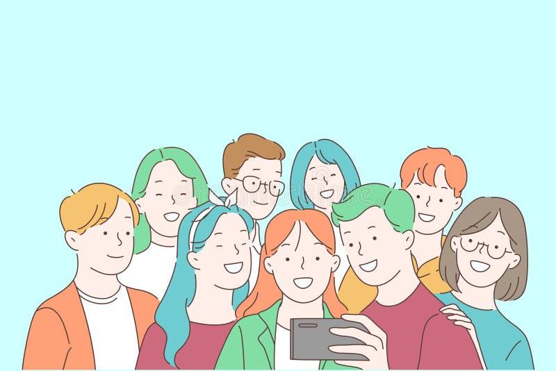 Κοινότητα των νέων, έφηβοι, φιλία, παρέα και ιδέα επικοινωνίας απεικόνιση αποθεμάτων