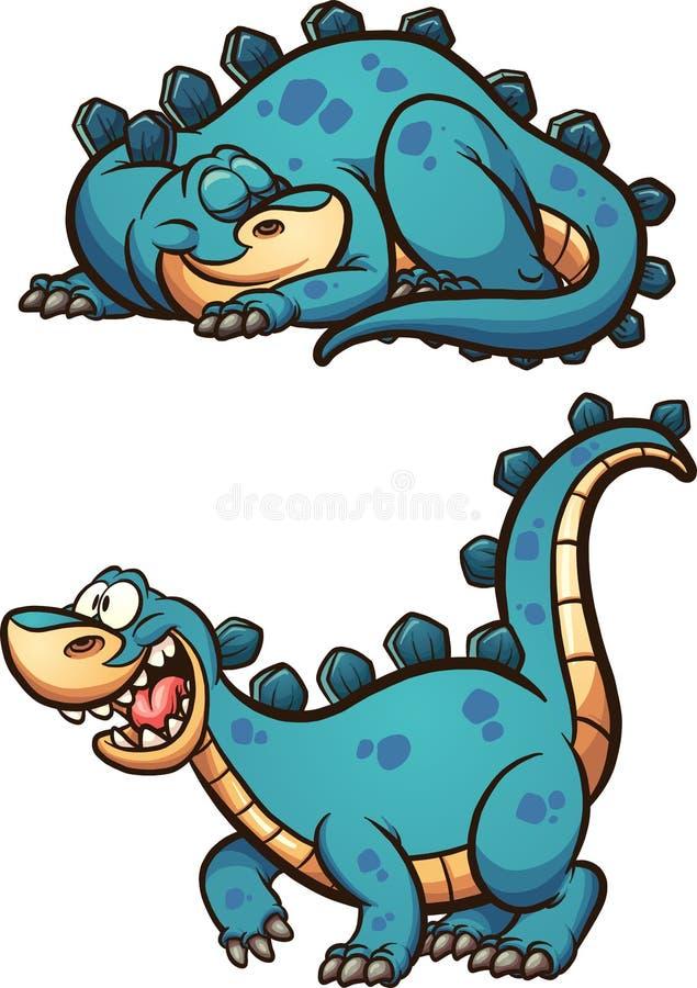 Κοισμένος και άγρυπνος δεινόσαυρος διανυσματική απεικόνιση