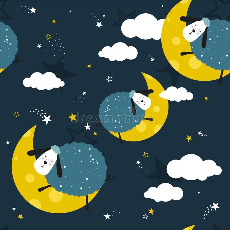Κοισμένος sheeps, διακοσμητικό χαριτωμένο υπόβαθρο Ζωηρόχρωμο άνευ ραφής σχέδιο με τα ζώα, φεγγάρι, αστέρια διανυσματική απεικόνιση