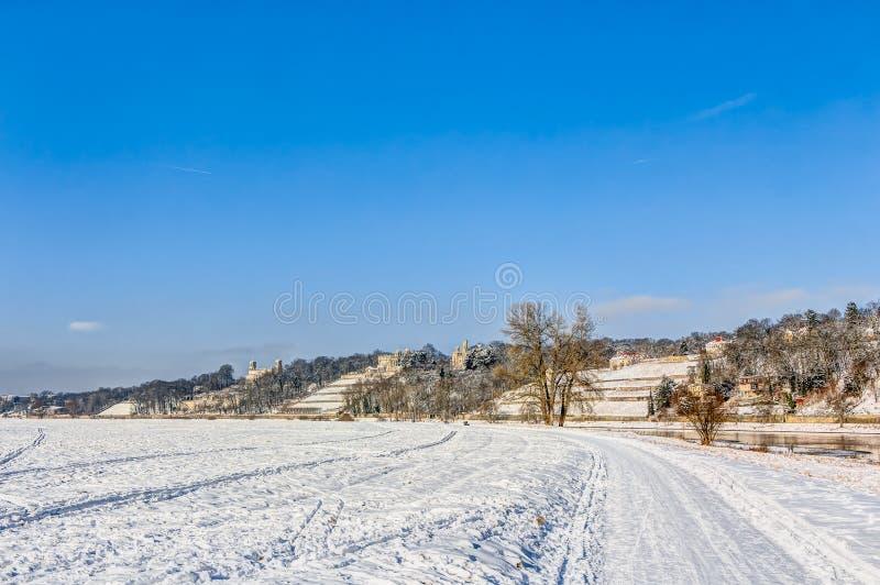 Κοιλάδα ποταμών Elbe το χειμώνα στη Δρέσδη στοκ φωτογραφίες