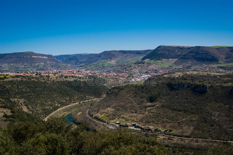 Κοιλάδα της πόλης Millau στη Γαλλία στοκ εικόνες με δικαίωμα ελεύθερης χρήσης