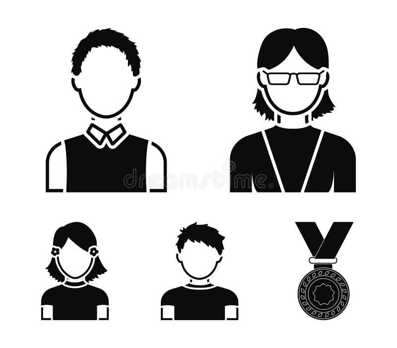 Κοκκινομάλλες αγόρι, κορίτσι εφήβων, γιαγιά που φορά τα γυαλιά Καθορισμένα εικονίδια συλλογής ειδώλων στο μαύρο απόθεμα συμβόλων  απεικόνιση αποθεμάτων