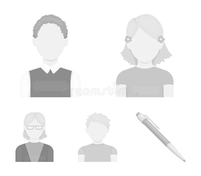 Κοκκινομάλλες αγόρι, κορίτσι εφήβων, γιαγιά που φορά τα γυαλιά Καθορισμένα εικονίδια συλλογής ειδώλων στο μονοχρωματικό διανυσματ απεικόνιση αποθεμάτων