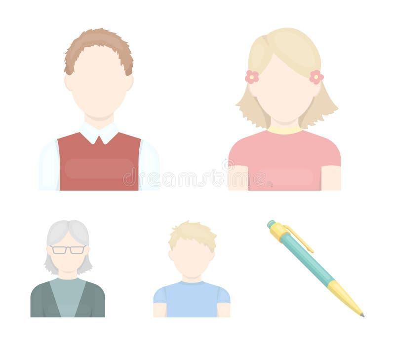 Κοκκινομάλλες αγόρι, κορίτσι εφήβων, γιαγιά που φορά τα γυαλιά Καθορισμένα εικονίδια συλλογής ειδώλων στο διανυσματικό απόθεμα συ απεικόνιση αποθεμάτων