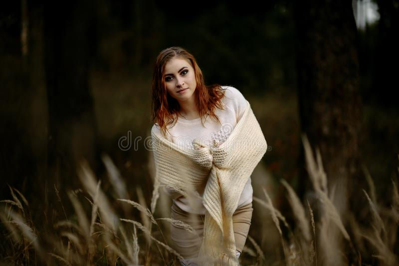 Κοκκινομάλλες κορίτσι στα ελαφριά ενδύματα στα πλαίσια των δασικών και κίτρινων αυτιών φθινοπώρου στοκ φωτογραφία με δικαίωμα ελεύθερης χρήσης