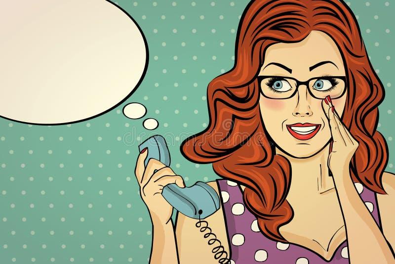 Κοκκινομάλλης γυναίκα με τα γυαλιά, κουτσομπολιό στο αναδρομικό τηλέφωνο διανυσματική απεικόνιση