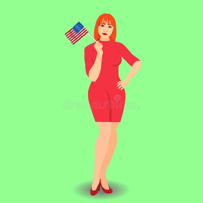 Κοκκινομάλλης γυναίκα με τη αμερικανική σημαία στο χέρι της απεικόνιση αποθεμάτων