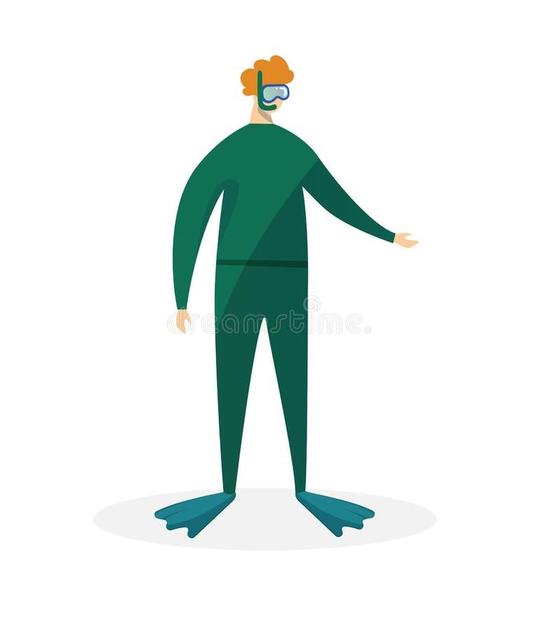 Κοκκινομάλλης δύτης σκαφάνδρων ατόμων στο πράσινο κολυμπώντας κοστούμι διανυσματική απεικόνιση