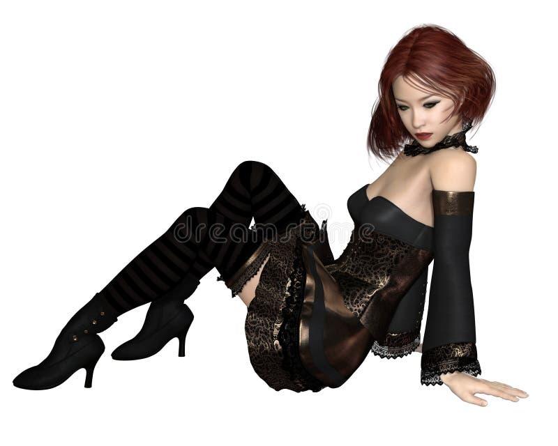 Κοκκινομάλλες κορίτσι κόμματος Goth - συνεδρίαση ελεύθερη απεικόνιση δικαιώματος
