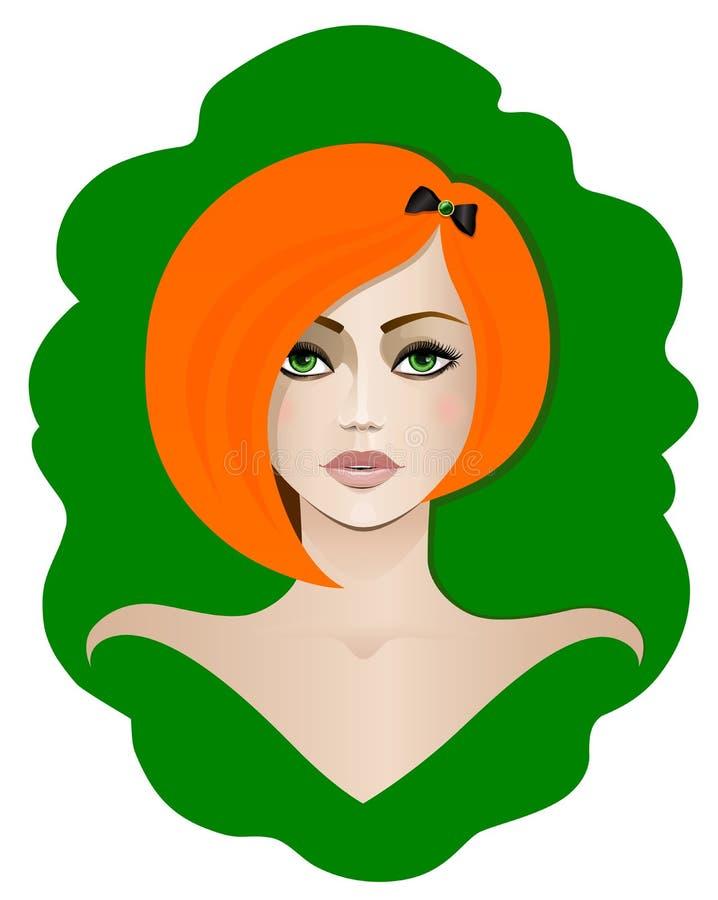 Κοκκινομάλλες κορίτσι με τα πράσινα μάτια ελεύθερη απεικόνιση δικαιώματος
