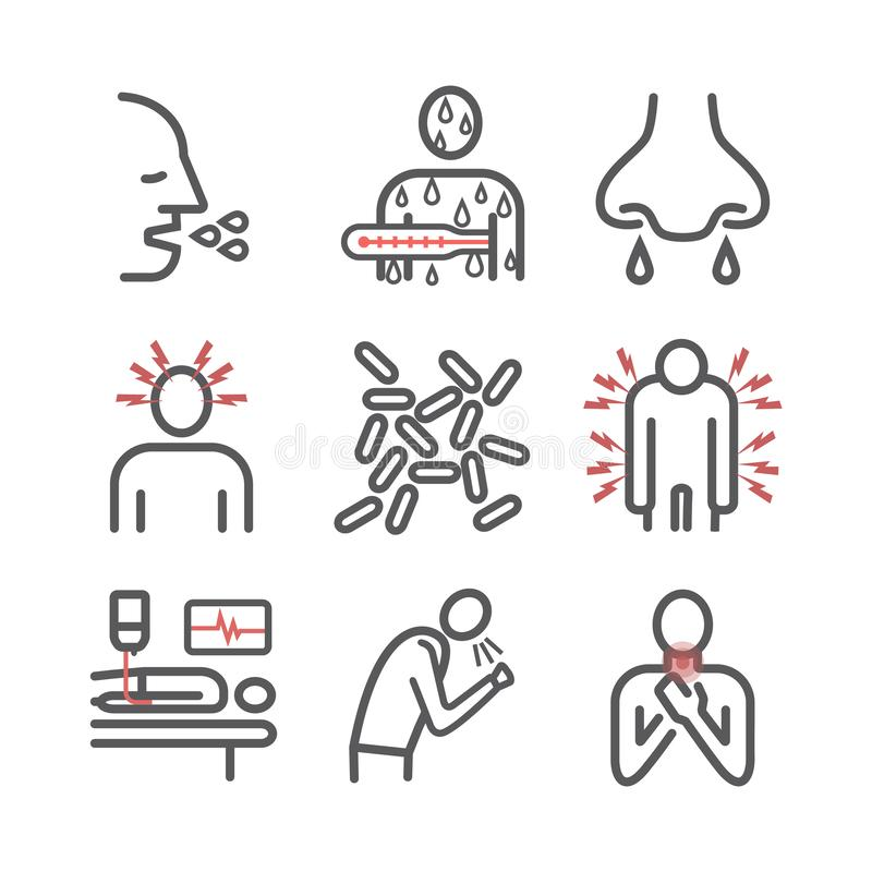 κοκκύτης Whooping - βήχας, συμπτώματα, επεξεργασία Εικονίδια γραμμών καθορισμένα Διανυσματικό infographics ελεύθερη απεικόνιση δικαιώματος