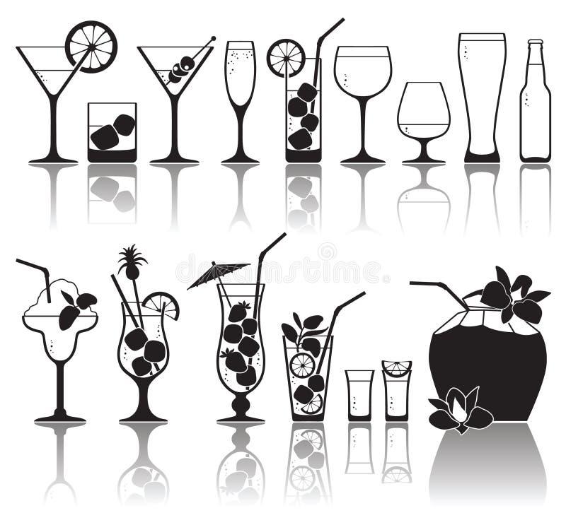 Κοκτέιλ και γυαλιά με την αλκοόλη απεικόνιση αποθεμάτων