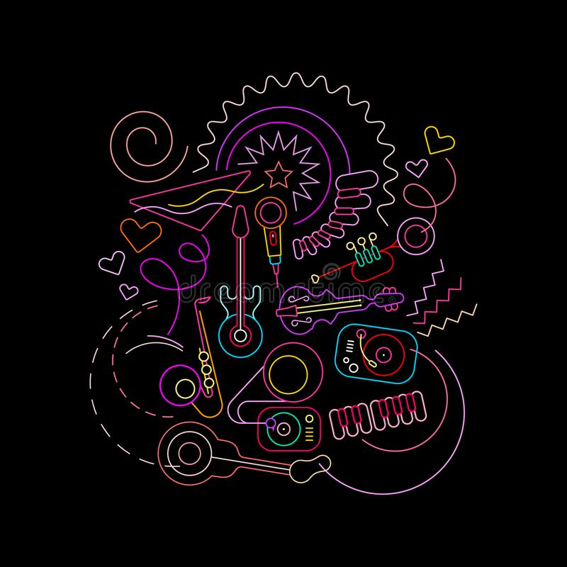 Κοκτέιλ και διανυσματικό σχέδιο μουσικής διανυσματική απεικόνιση