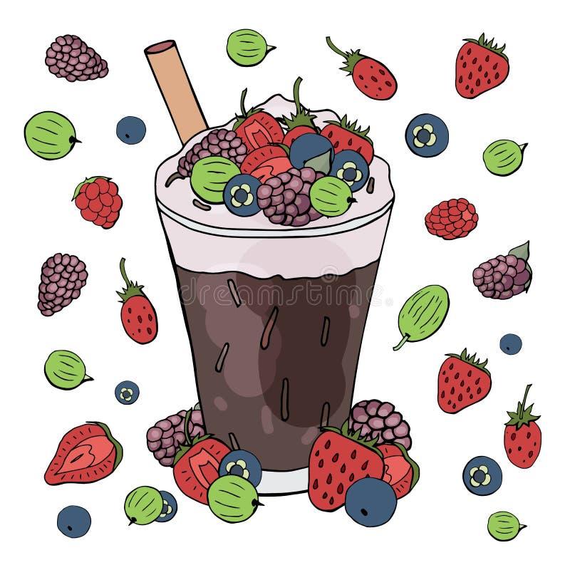 Κοκτέιλ φρούτων και καφέ με τα διαφορετικά μούρα που απομονώνονται στο άσπρο υπόβαθρο στοκ εικόνα με δικαίωμα ελεύθερης χρήσης